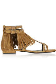 Studded fringed suede sandals