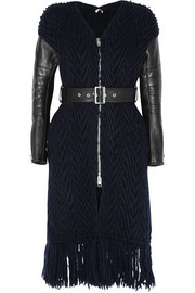 Luck leather-paneled cable-knit wool coat