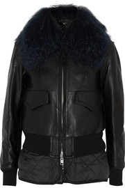 Luck shearling-trimmed leather biker jacket