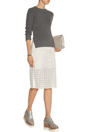 Sacai Luck paneled wool and cotton-lace midi dress