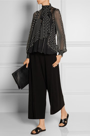 Sacai Luck printed chiffon and knitted cotton-blend blouse