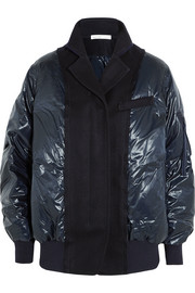 Sacai Luck wool felt-paneled shell down bomber jacket