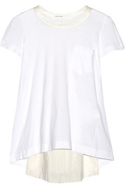 Sacai Luck tulle and satin-paneled cotton-jersey top