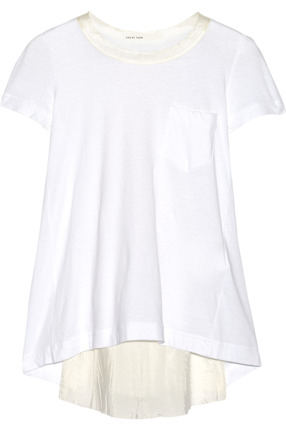 Sacai Luck Tulle and Satin-Paneled Cotton-Jersey Top, Size: 3