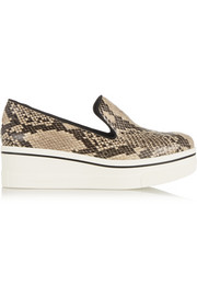 Snake-print canvas slip-on sneakers