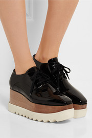Faux patent-leather platform brogues