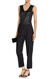 Leather-paneled stretch-jersey bodysuit