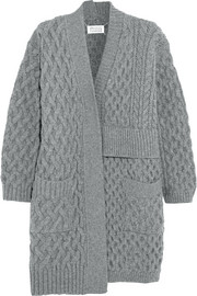 Asymmetric cable-knit wool cardigan