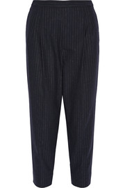 Maison Margiela Cropped pinstriped woven tapered pants
