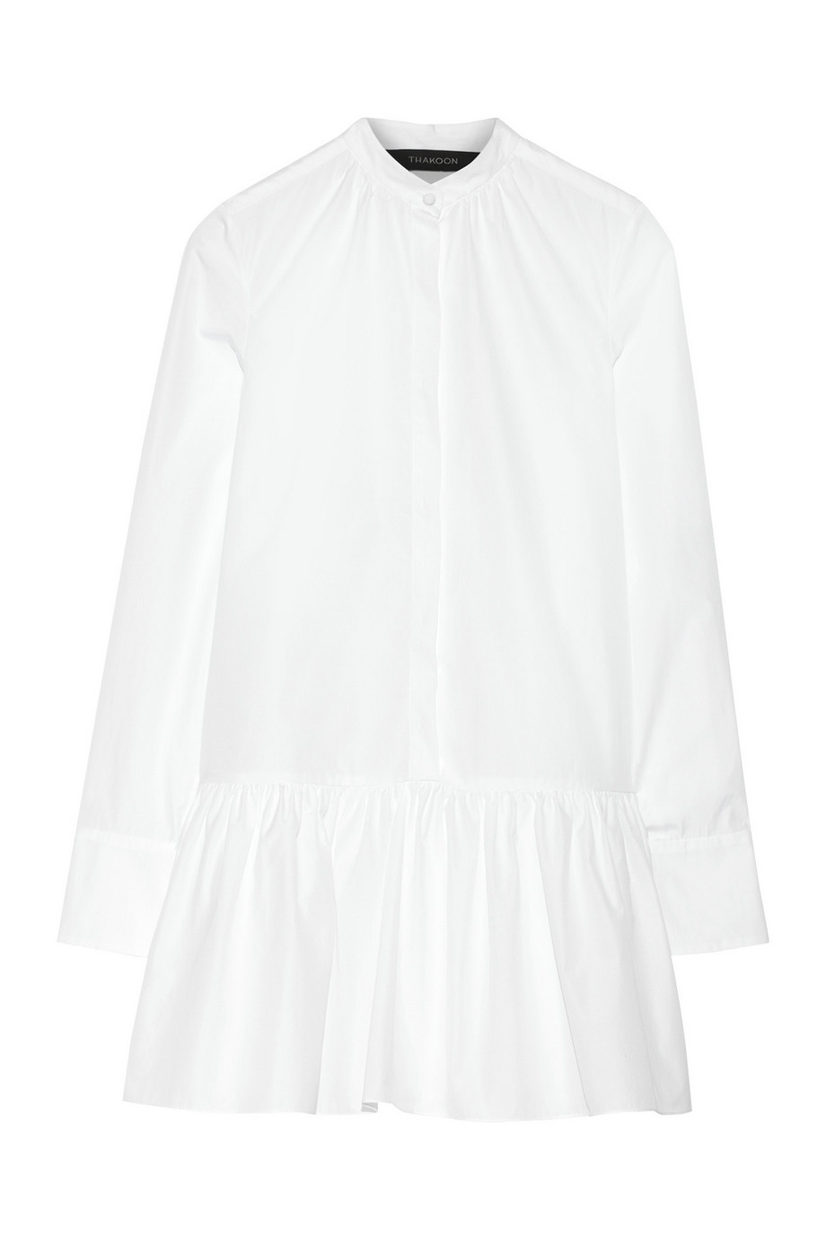 Thakoon Cotton-Poplin Mini Shirt Dress, White, Women's, Size: 6