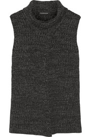 Split-front merino wool sweater