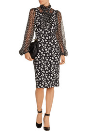 Pussy-bow floral-print crepe and georgette dress