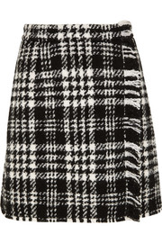 Plaid wool-blend tweed mini skirt