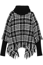 Fringed wool-blend tweed turtleneck poncho