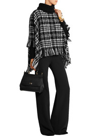 Dolce & Gabbana Fringed wool-blend tweed turtleneck poncho