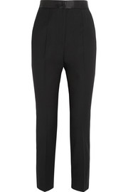 Satin-trimmed stretch wool-blend tapered pants
