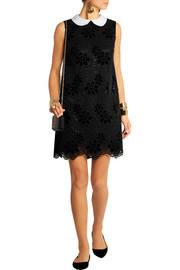 Dolce & Gabbana Satin-trimmed guipure lace mini dress