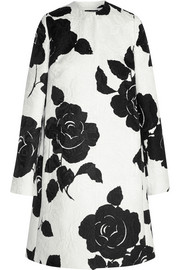 Floral-print cotton-blend jacquard coat
