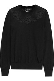 Lace-paneled cashmere sweater