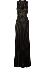 Studded metallic-striped stretch wool-blend gown