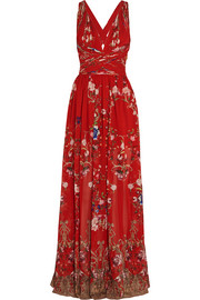 Floral-print pliss� silk-georgette gown