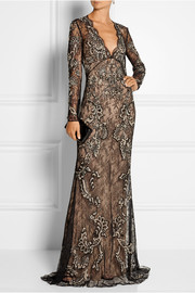 Roberto Cavalli Embellished lace gown
