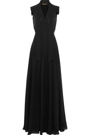 Satin-trimmed silk-georgette gown