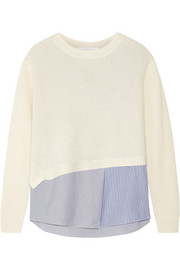 Thakoon Thakoon Addition layered waffle-knit and stretch-poplin top