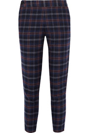 Addition plaid cotton-blend flannel tapered pants