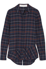Addition plaid cotton-blend flannel shirt
