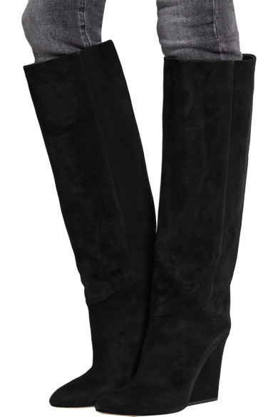 Cartel cutout-wedge suede knee boots