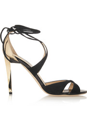 Jimmy Choo Teira metallic leather and suede sandals