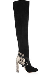 Doma elaphe-paneled suede over-the-knee boots