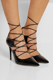 Hoops patent-leather pumps