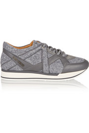 Jimmy Choo London felt and leather sneakers