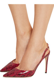Tarida glossed-elaphe slingback pumps