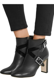 Dee leather and patent-leather ankle boots