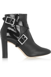 Jimmy Choo Dee leather and patent-leather ankle boots