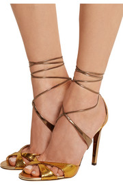 Teira metallic ayers and mirrored-leather sandals
