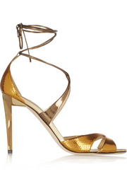 Jimmy Choo Teira metallic ayers and mirrored-leather sandals