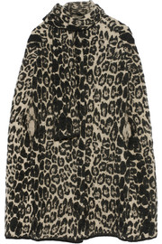 Leopard-intarsia stretch-knit cape