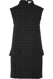 Fringed wool-blend tweed mini dress