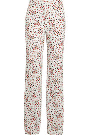Star-print crepe flared pants