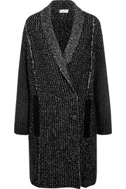 Double-breasted stretch wool-blend coat