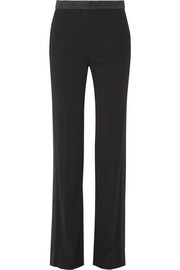 Satin-trimmed crepe flared pants
