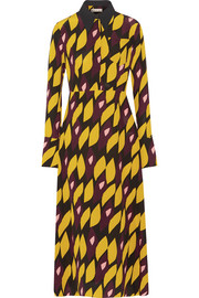 Printed silk-blend crepe midi dress