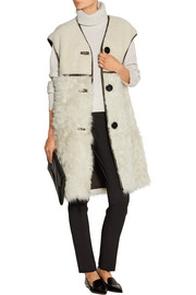 Oversized leather-trimmed shearling gilet