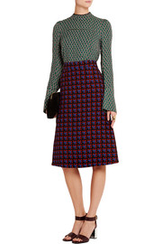 Checked wool-crepe skirt