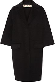 Wool, cashmere and angora-blend coat