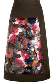 Paillette-embellished wool skirt